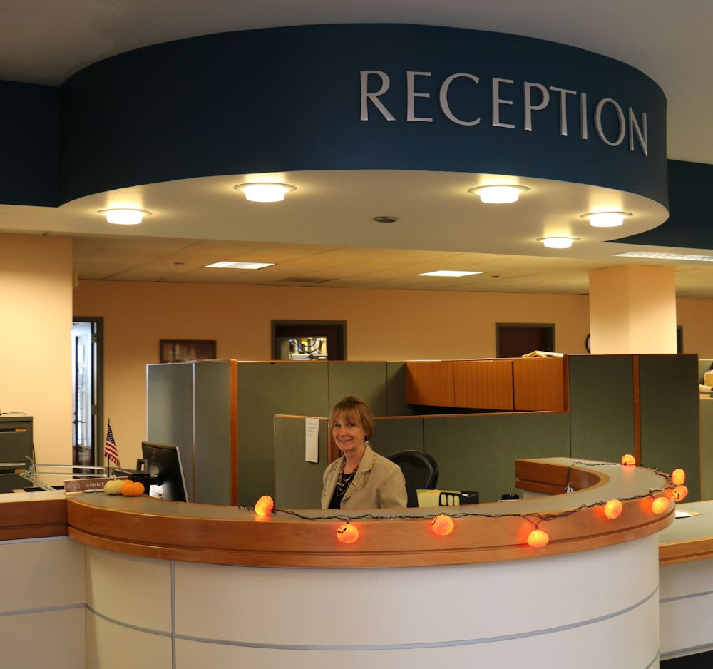 connie at Reception desk