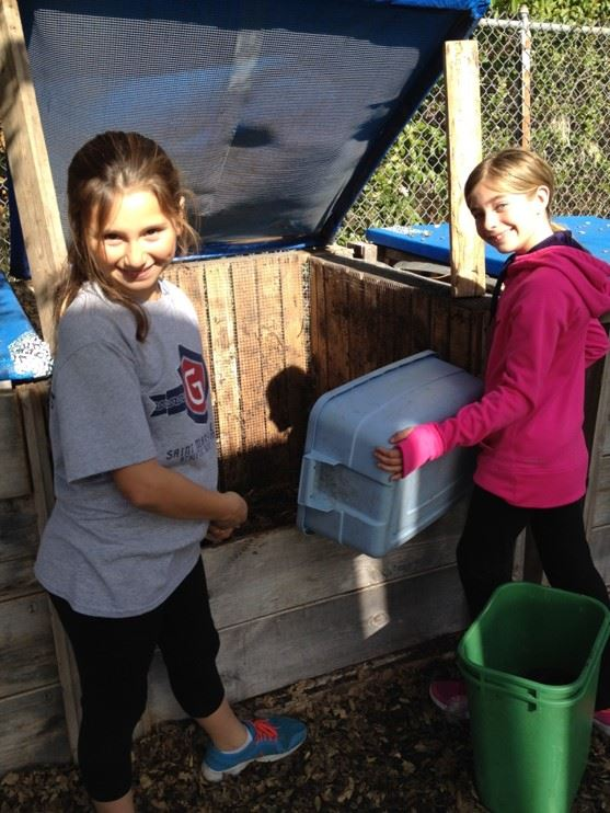 sequoia elementary green team students composting