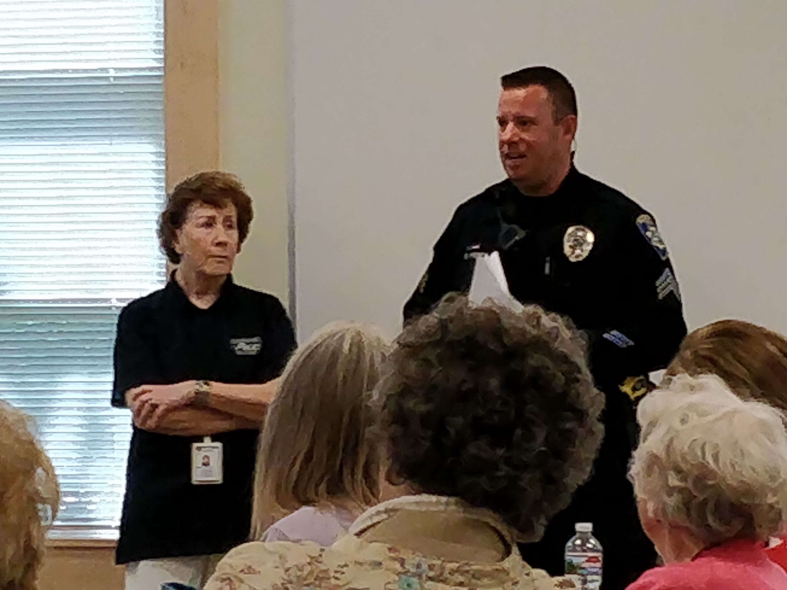 Officer Priebe and Neighborhood Watch Coordinator, Pam Mosher