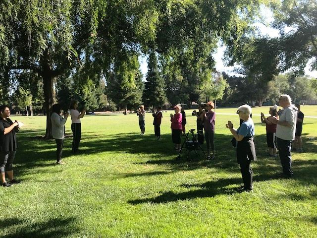 Participants performing Tai Chi in the Pleasant Hill Park