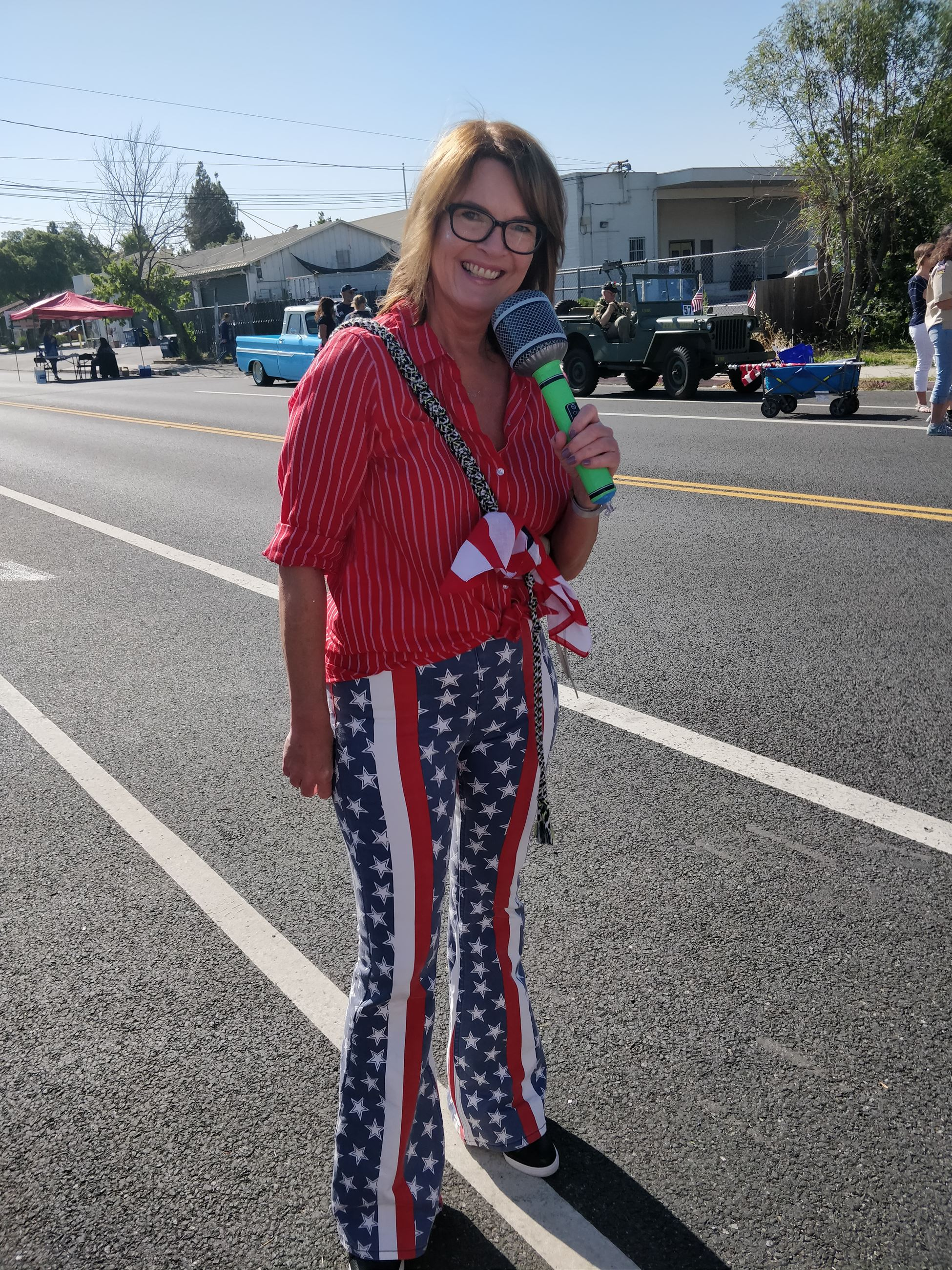 Commissioner Kubler in red, white and blue pants