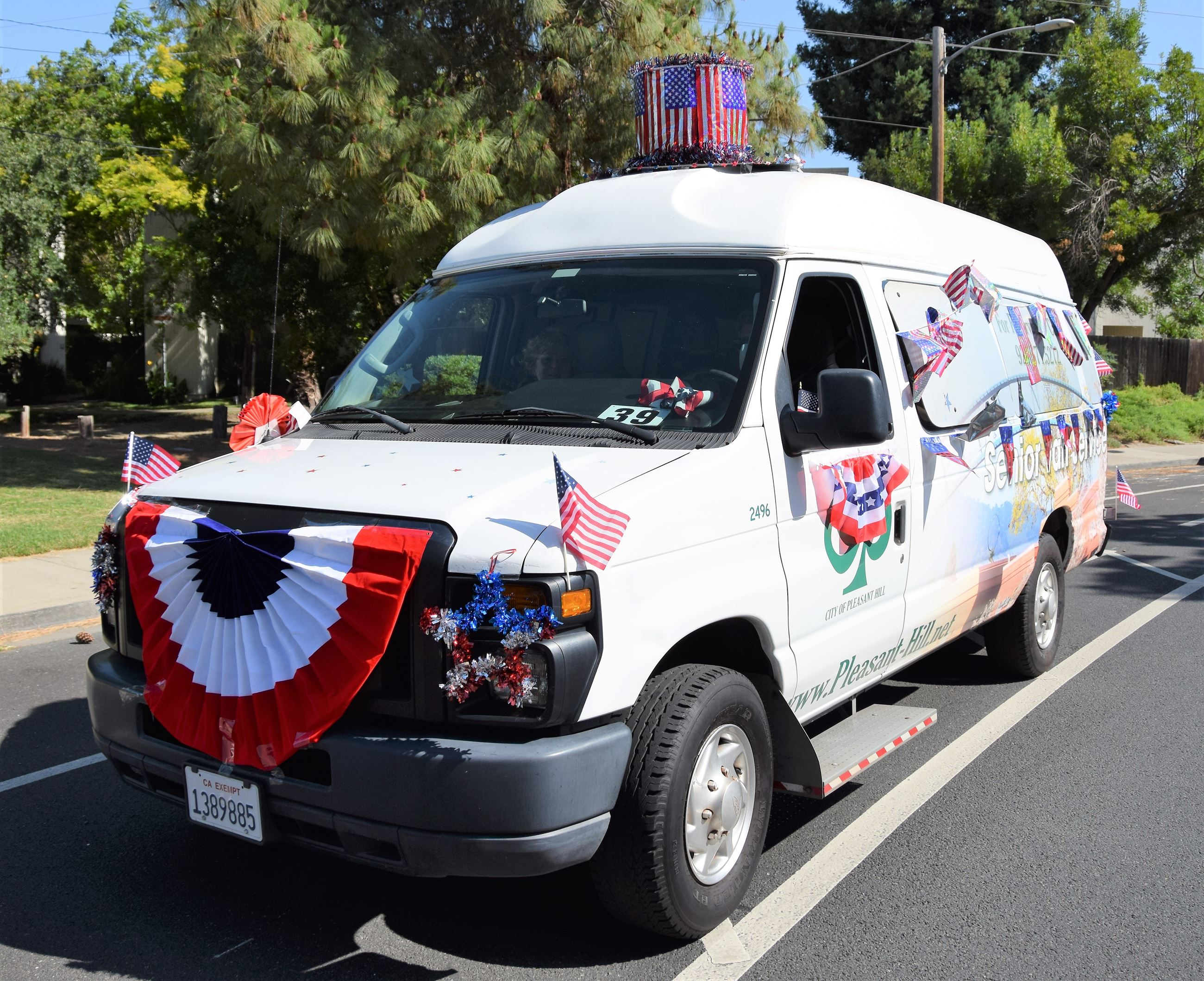 Senior Van decorated for the Fourth of July