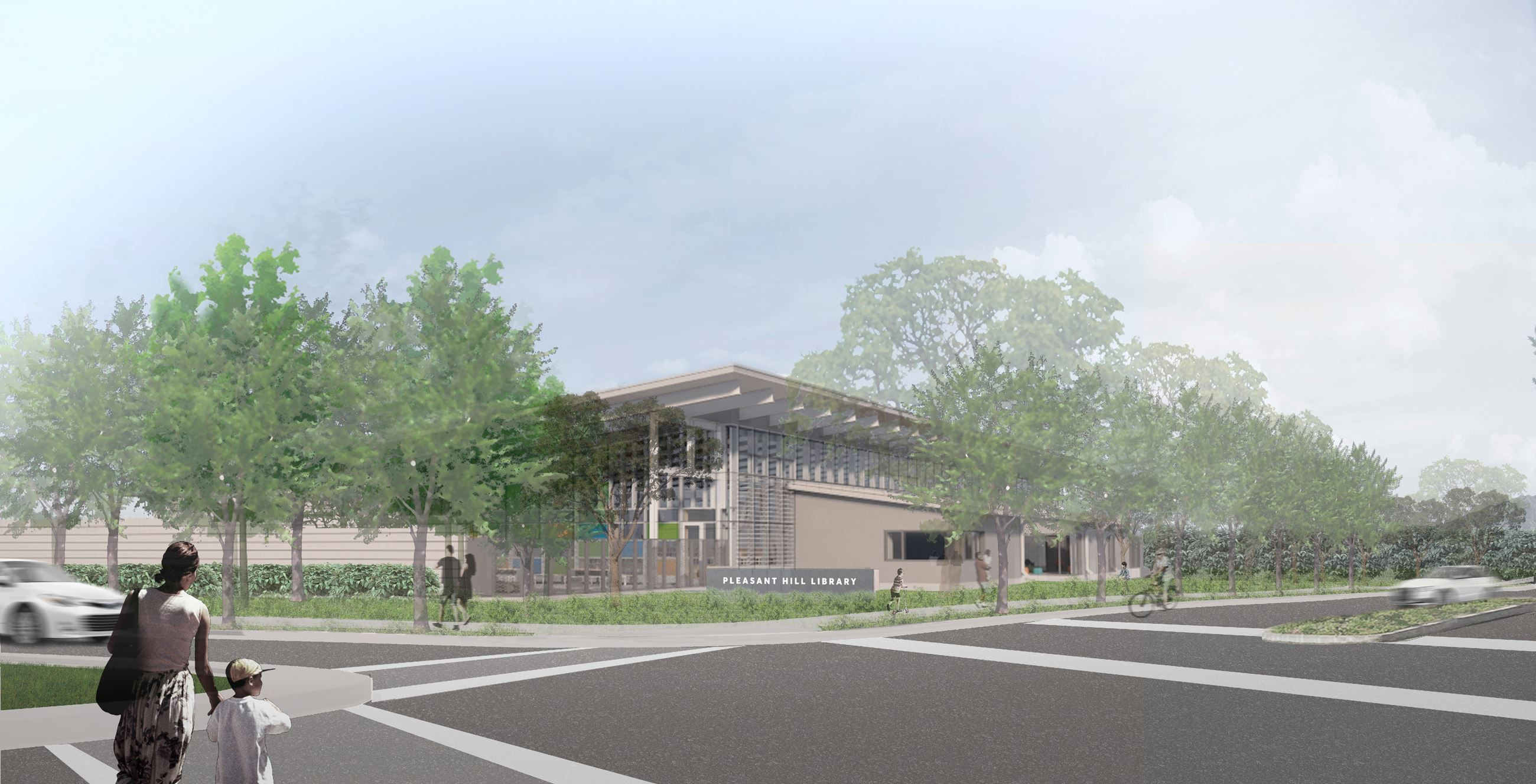 Rendering of new Pleasant Hill Library - Exterior from Monticello-Oak Park intersection