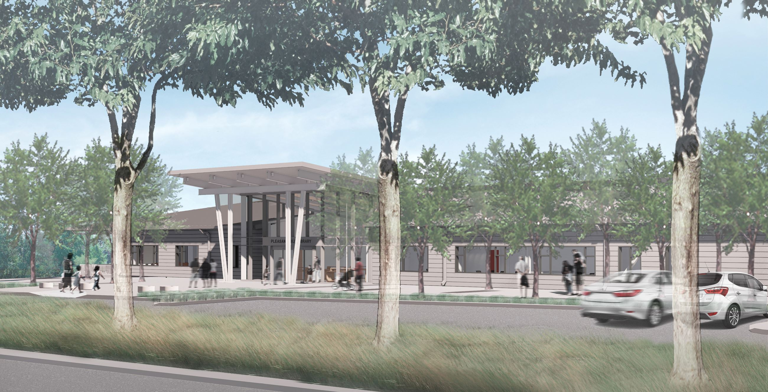 Rendering of new Pleasant Hill Library - Exterior view of library from parking lot