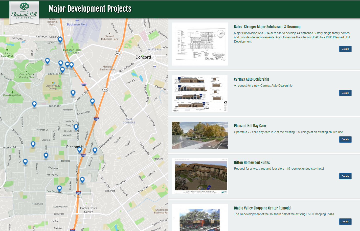 New City Of Pleasant Hill Interactive Planning Project Map